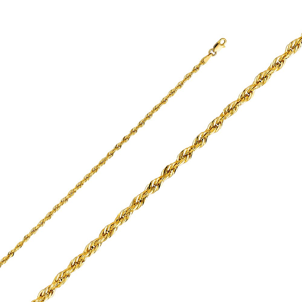 Wellingsale 14k Yellow Gold 2.5mm Polished Diamond Cut HOLLOW Rope Chain Necklace with Lobster Claw Clasp - 18''