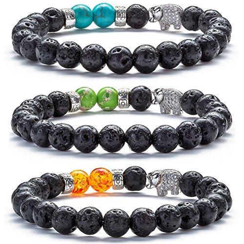 - Hamoery Men Women 8mm Lava Rock Diffuser Bracelet Elastic Natural Stone Yoga Beads Bracelet Bangle,Elephant (3 Pcs Set1)