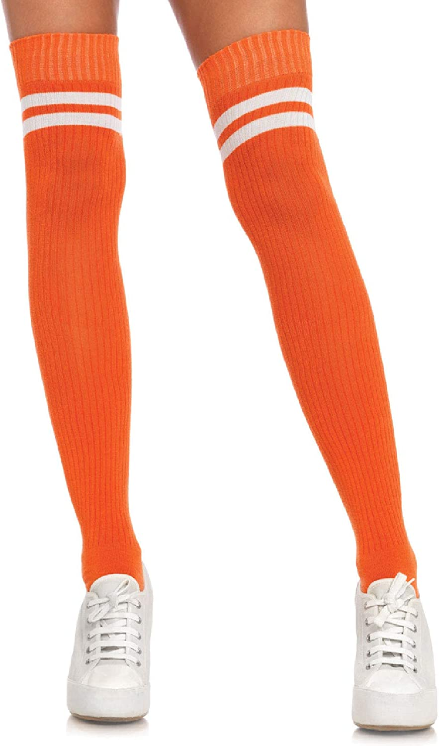 Leg Avenue Women's Ribbed Athletic Thigh High Socks, Yellow/White, One Size: Clothing