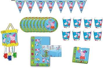 Peppa Pig 0762, Pack Fiesta y cumpleaños 1 piñata 1 banderin (3metros), 1 Mantel plástico 120x180 cm, 20 servilletas, 8 Platos 23 cm, 8 Vasos: Amazon.es: Juguetes y juegos