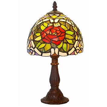 Tischleuchte Retro Romantische Schlafzimmer Nachttischlampe Wohnzimmer Cafe  Farbe Rose Glas Dekorative Tischlampe E14 ( Farbe :