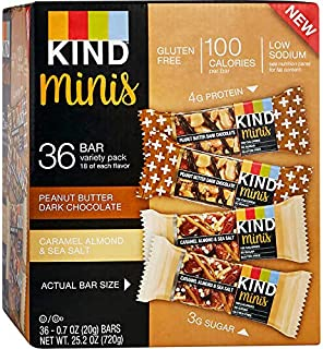 product image for KIND Bar Caramel almond and sea salt & Peanut Butter Dark Chocolate, (Minis Variety Pack, 36 Bars)