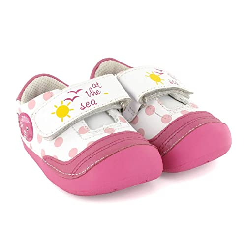 3bd2b8b27a1 Zapato preandante de niña en Piel Blanco con Rosa Lea Lelo: Amazon.es:  Zapatos y complementos
