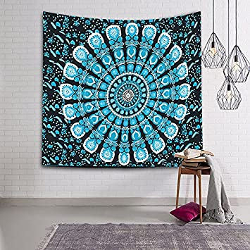 JES/&MEDIS Mountain Forest Tapestry Mandalas Bohemia Indian Tapestry Wall Hanging Tapestries Yoga Mat Blanket Beach Towel 80x60 Inches