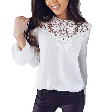 3817d66225c79 Hibote Mujer Blusa Encaje Gasa Camisa Mujer Blusas Manga Larga O Cuello  Tops Elegante Slim Fit Top Camisa de Color Sólido  Amazon.es  Ropa y  accesorios