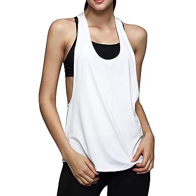 Startreene T-Shirt Débardeur de Sport Femme sans Manche Sèche Rapide Tank  Tops Fitness Dos e60558bc759