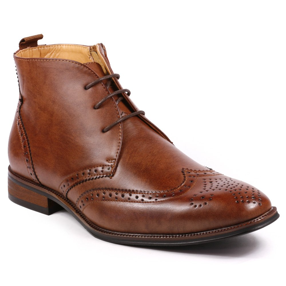 UV SIGNATURE UV203 Men's Lace Up Perforated Wing Tip Formal Dress Casual Ankle Boots (7, Brown)