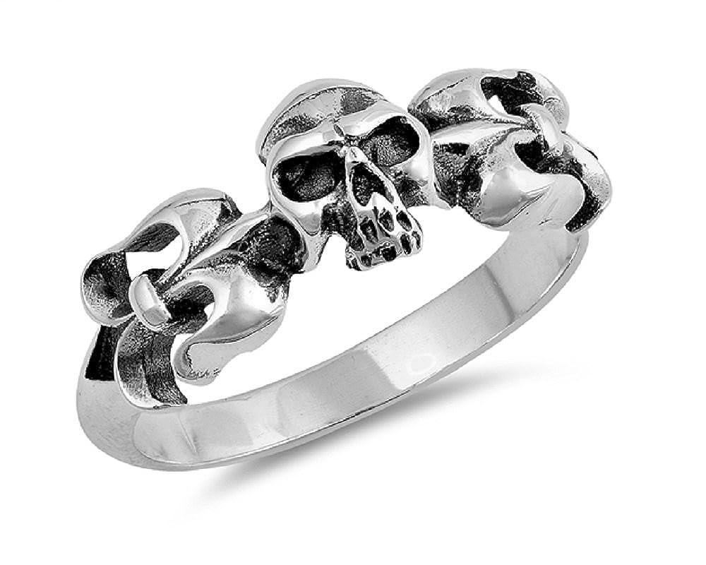 Princess Kylie Oxidized Sterling Silver Fleur De Lis Skull Ring