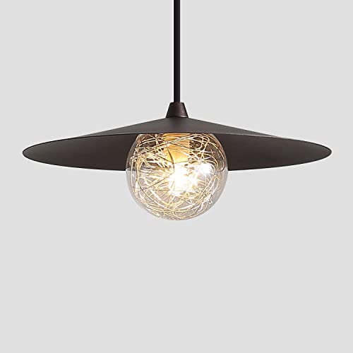 Modern Glass Mini Pendant Light with Bulbs, One-Light Adjustable Industrial Pendant Lighting Fixture for Kitchen Island Bar Table Farmhouse, Oil Rubbed Bronze