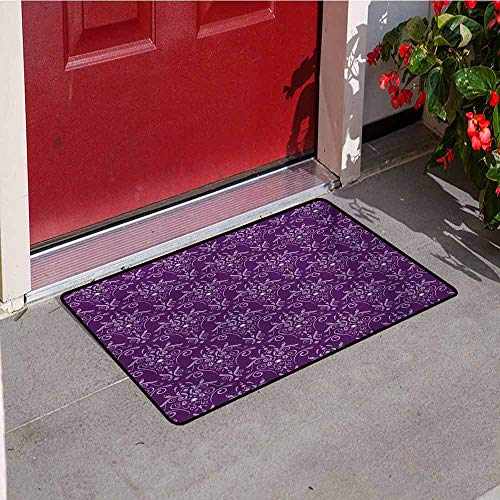 Unified Charger - Jinguizi Eggplant Universal Door mat Damask Pattern with Symmetrical Abstract Leaves and Swirls Forming Unified Look Door mat Floor Decoration W29.5 x L39.4 Inch Purple Lilac
