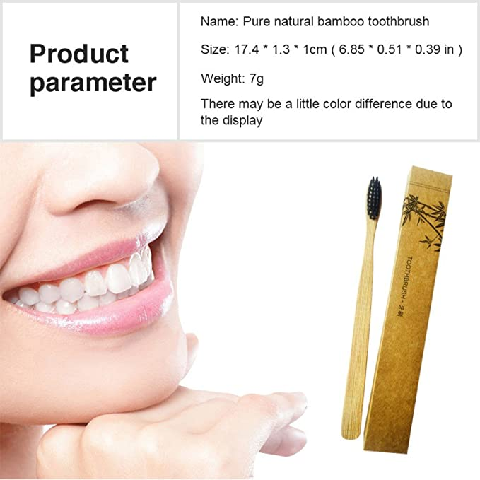 Cepillo de dientes de madera de bambú con cerdas de carbón negro activado respetuoso con el medio ambiente y vegano, sin BPA, cerdas de nailon suave y ...