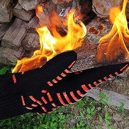 Parrilla para barbacoa guantes, dinowin 932 ° Extreme resistente al calor guantes de horno, Home Kitchen guantes de agarre de silicona con forro de algodón, ...