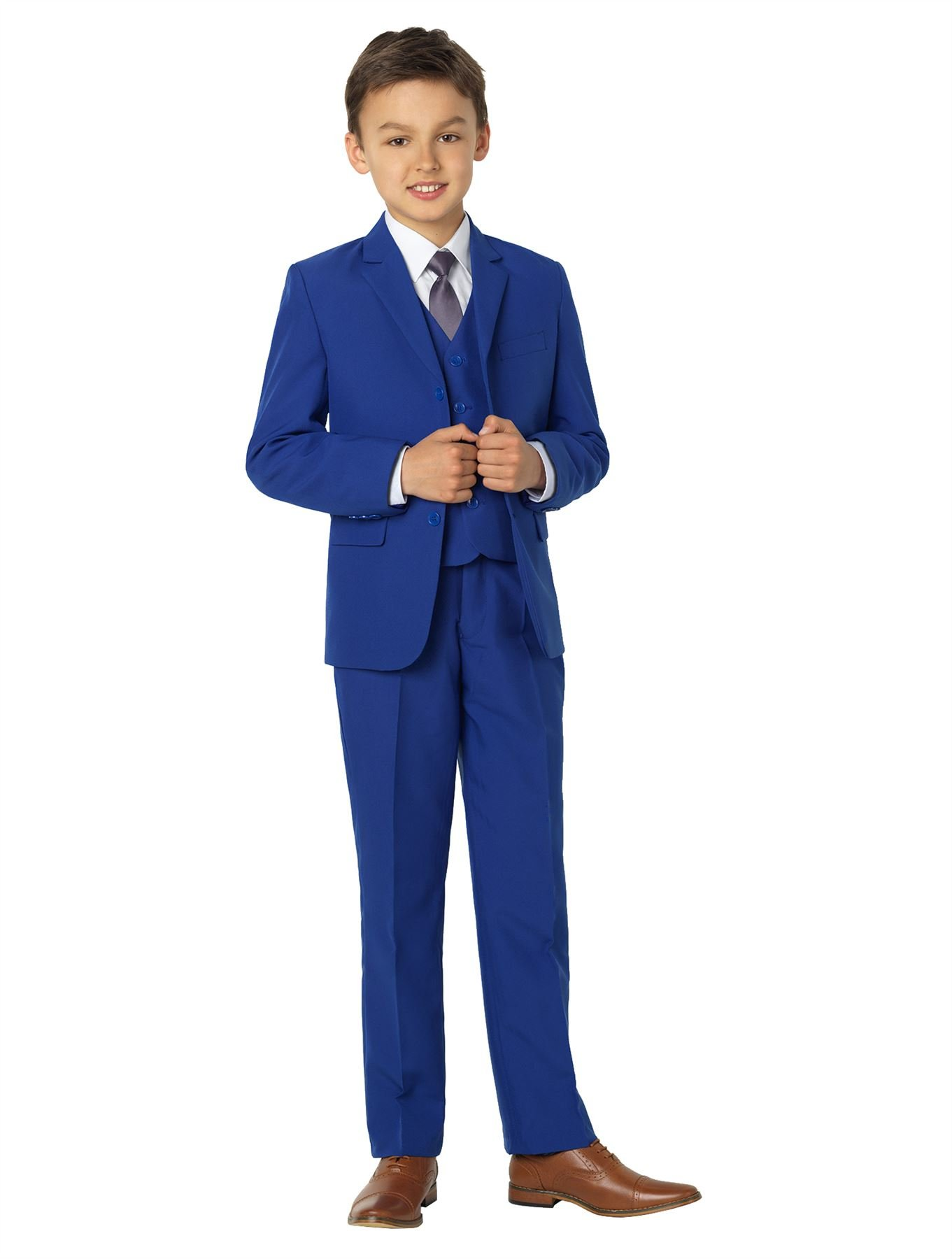 Shiny Penny Boys Blue Formal 5 Piece Suit Set with Shirt & Vest, 10