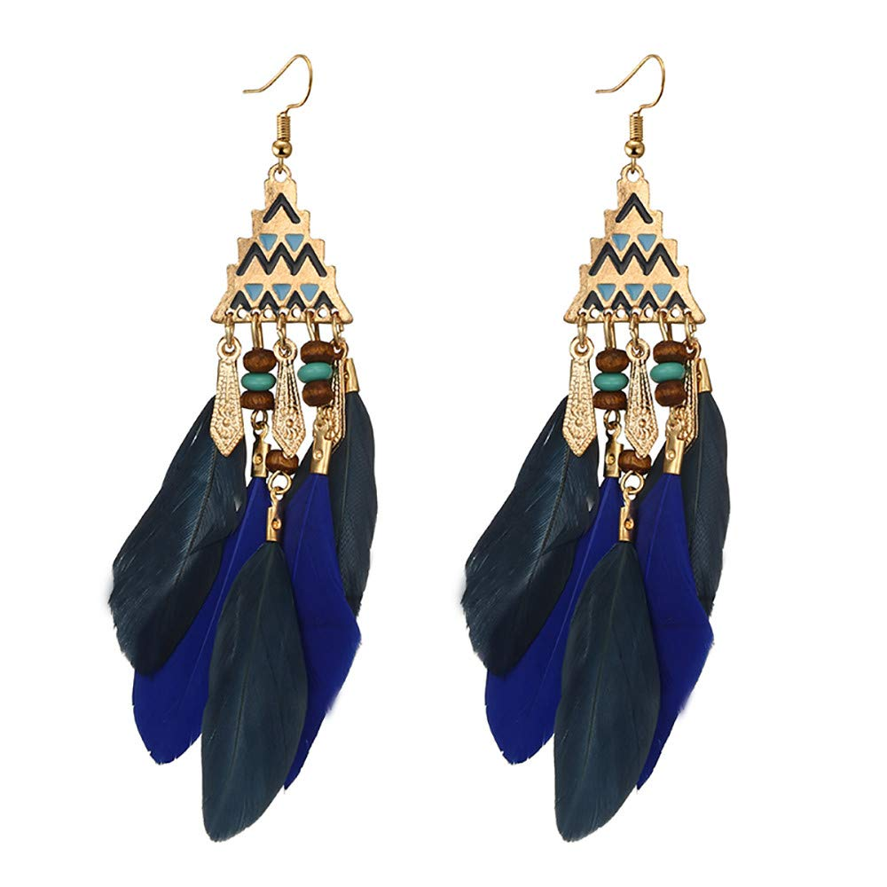 Staron  Women Tassel Hoop Earrings Bohemia Bead Alloy Feather Temperament Long Style Drop Earrings Fish Hook Earrings Dangle Ear Drop for Women Girls Daily Wear Party etc