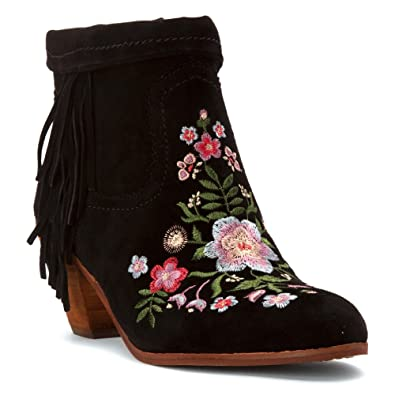 3e27ead5e0d9 Sam Edelman Women s Letti Black Kid Suede Leather Embroidery Boot ...