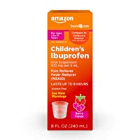 Amazon Basic Care Basic Care Children's Ibuprofen Oral Suspension 100 mg per 5 mL (NSAID), Pain Reliever and Fever Reducer, Berry Flavor, 8 Fluid Ounces (None)