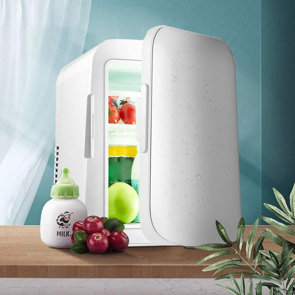 Mini Fridge 4 L/6 Can, Fast Cooling Electronic Refrigerator, AC/DC Portable Thermoelectric Cooler and Warmer for Skincare, Breast Milk, Foods, Medications, Bedroom and Travel (White)