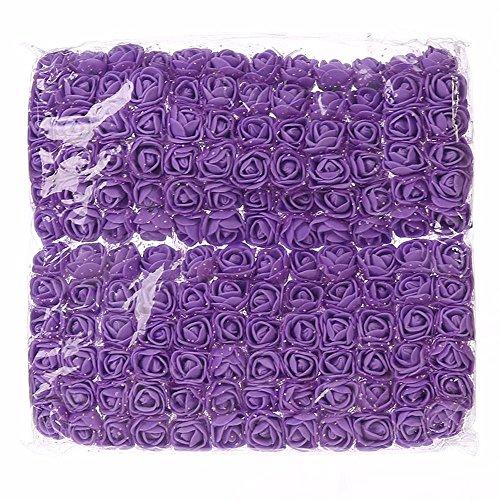 DIY 144 PCS head rose flowers Artificial Rose Flowers Wedding Bride Bouquet PE Foam DIY party festival Home Decor Garland Wreaths Rose Flowers (purple)