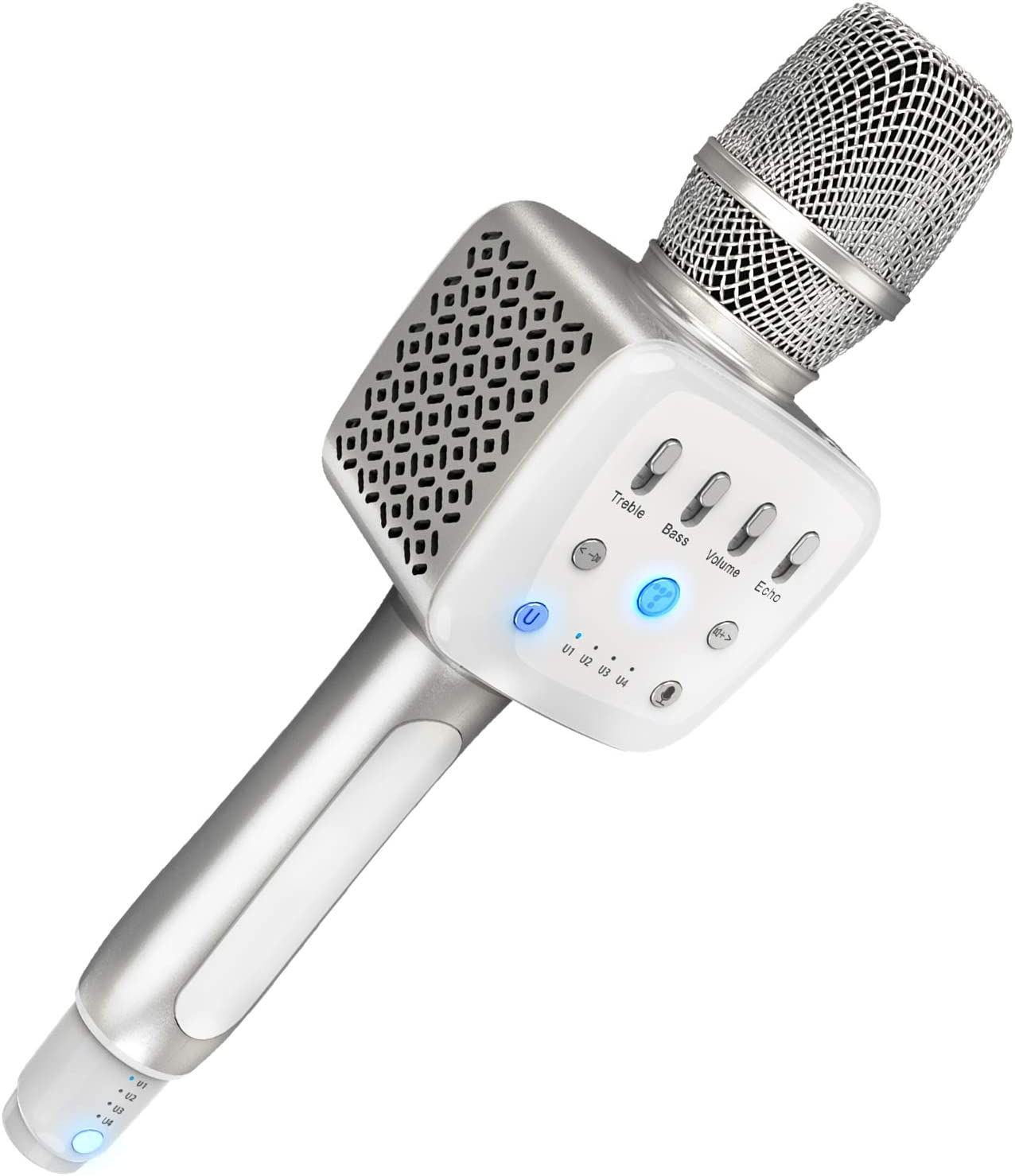 TOSING V2 Wireless Bluetooth Karaoke Microphone,3-in-1 Portable Handheld karaoke Mic New Year Gift Home Party Birthday Speaker Machine for iPhone/Android/iPad/Sony, PC and All Smartphone (Plata)