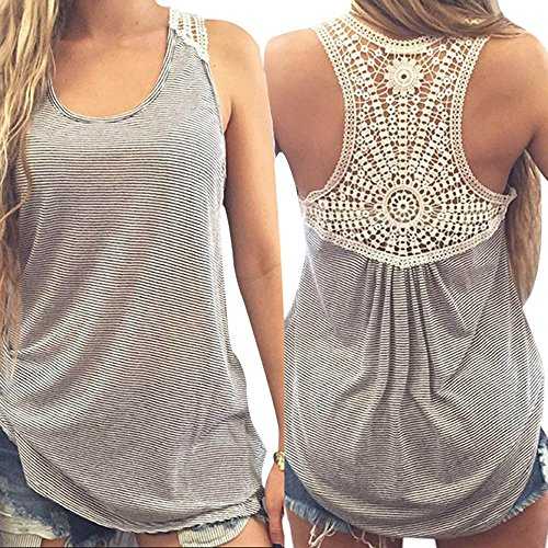 WUAI Womens Tank Tops Lace Printed Loose Fit Blouse Ladies Sleeveless Stylish T-shirts Tops(Gray,Medium) ()
