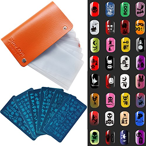 Bluezoo Manicure Steel Nail Stamping Plates Kit,Halloween Designs Nail Plates,Ghost,Pumpkin,Cushaw,Skull,Bat,Spider,Bones,etc.(Pack of 6 Plates in 1 Plate Collection Bag),QJ-L033-038