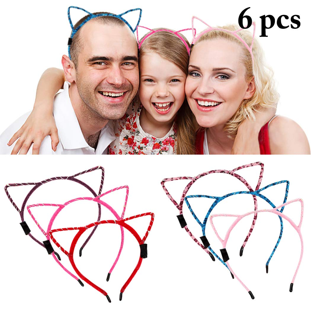 LED Cat Ear Headband, Fascigirl 6 PCS Light Up Cat Ears Headband Cute Hairbands for Girls Adult Halloween Christmas Party Decorations Hair Accessories