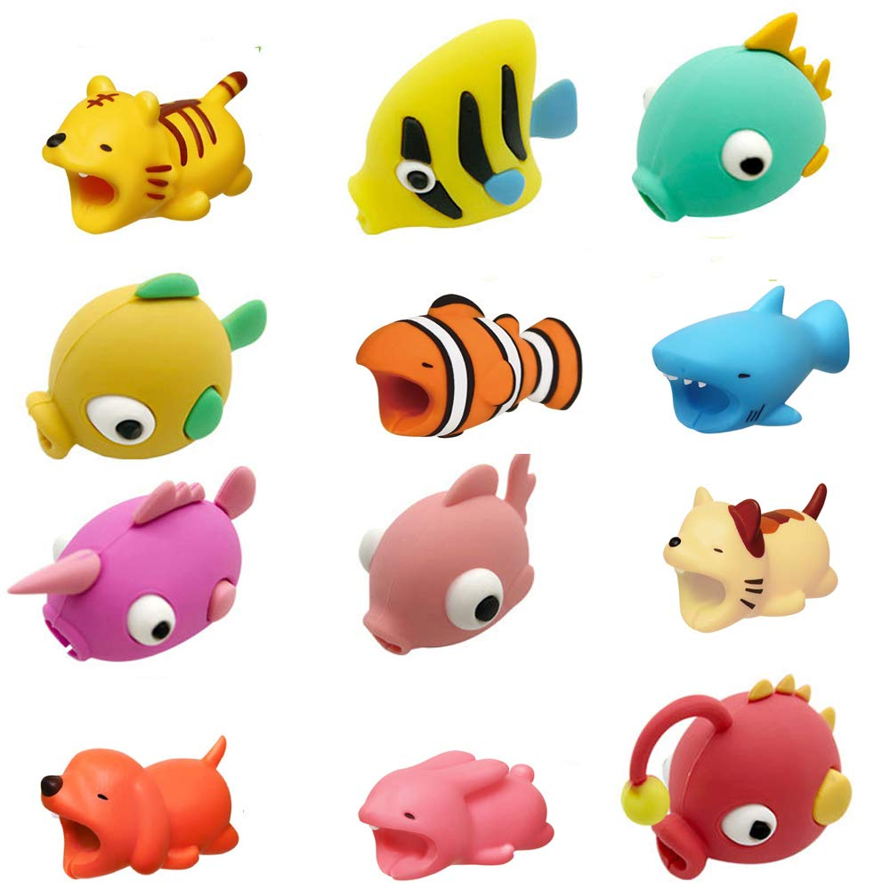SinoZeal Cable Animal Bite Protector Compatible iPhone Cable Charging Cord Saver, Cute Creature Bites Cables Charger Protector Accessory (20 Pack)