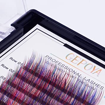 2d2041291ec Individual Multi-Colored Eyelash Extensions Rainbow Color Lashes 0.07mm  Thickness B Curl GEPOYA Platinum