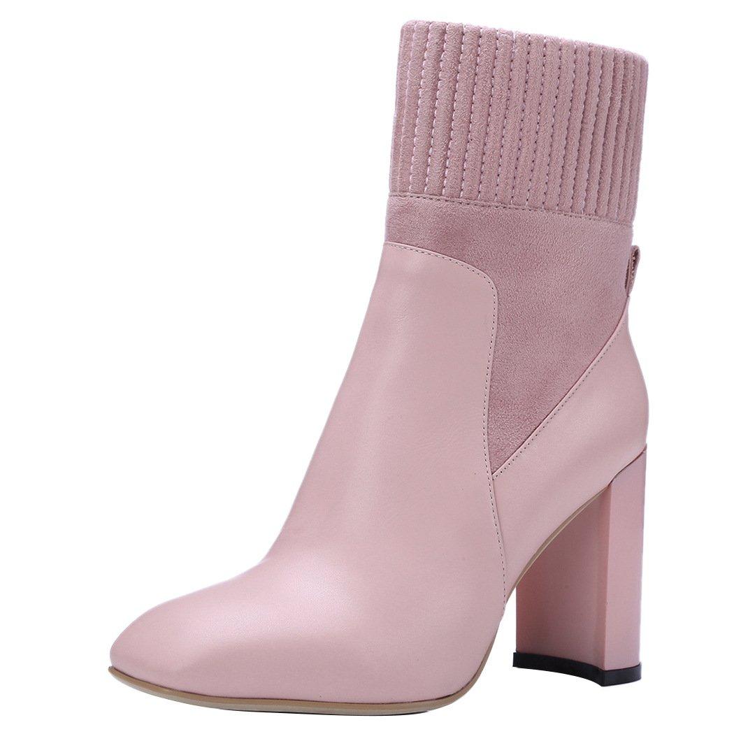 QIN&X Woherren Block Ferse Fersen runden Kopf kurz Ankle Stiefel Schuhe