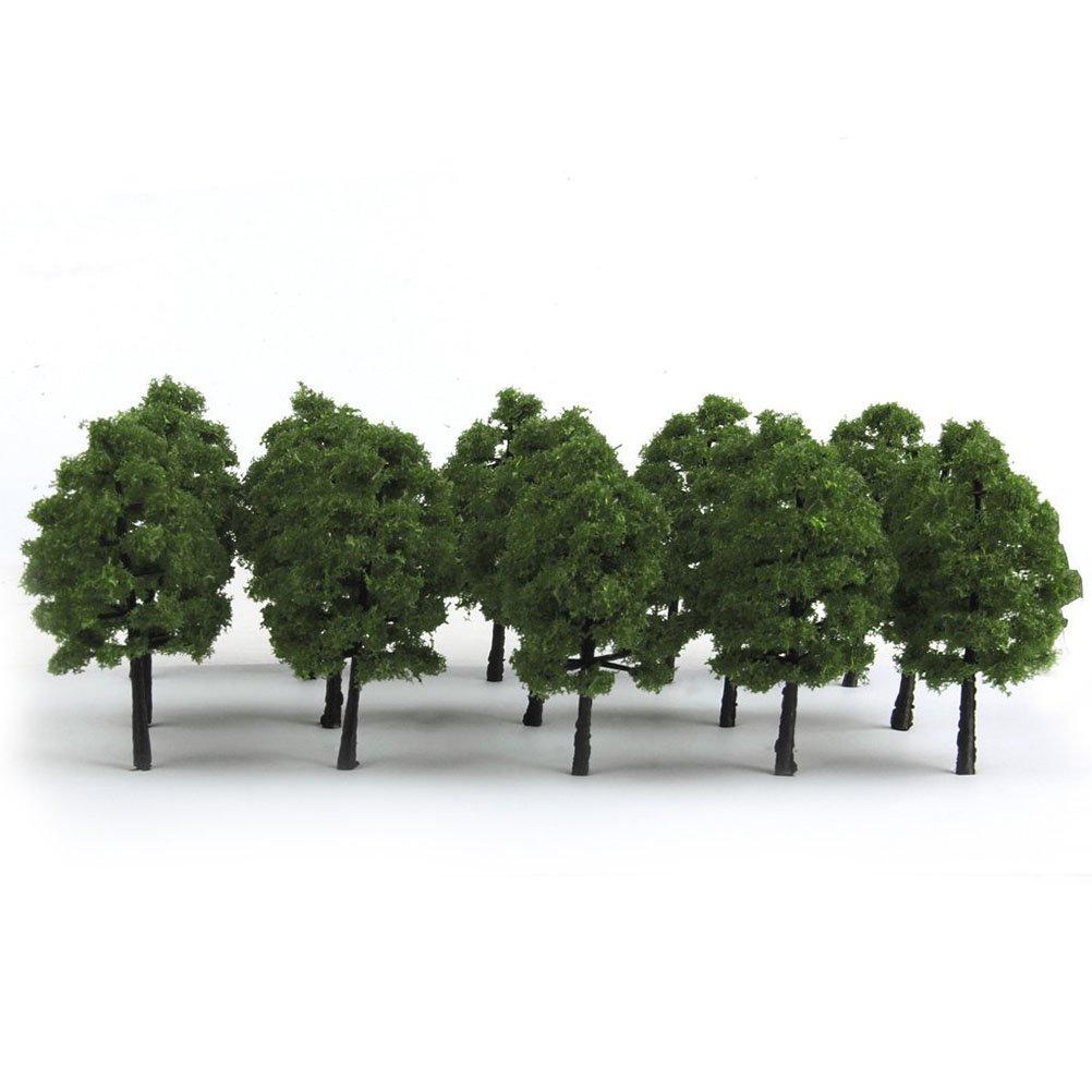 Pixnor 20pcs plastica modello alberi verde scuro di treno della ferrovia scenario 1: 100