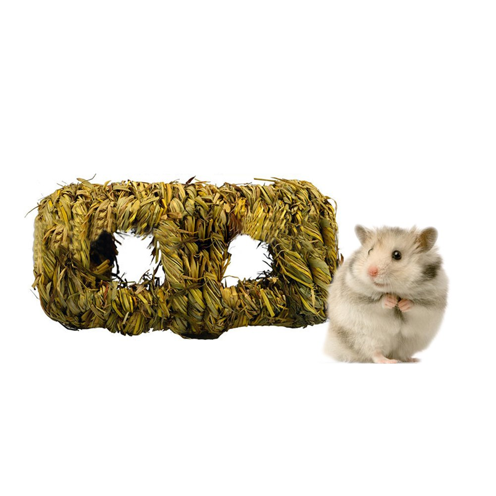Hamster Toys Woven Straw Natural Grass Plaited Nest Passing through Tunnels Rat Gerbil Mice Bed Nesting Box iBellete