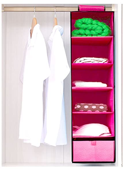 HLLMART 6 Shelves Hanging Closet Organizer With One Dra (PINK)