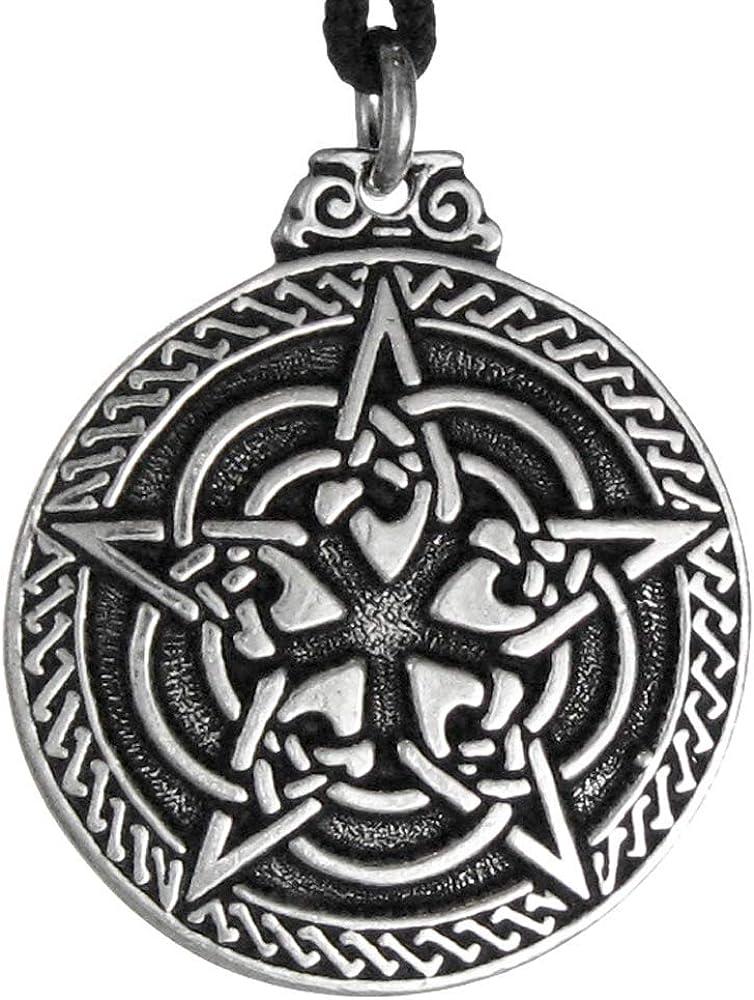 CELTIC PENTAGRAM Necklace Pewter Pendant on Adjustable Black Cord Pentacle Knot