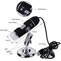 Microware Portable USB Digital Microscope 50x to1000x Magnification 8 LED Mini Camera Magnifier with Stand