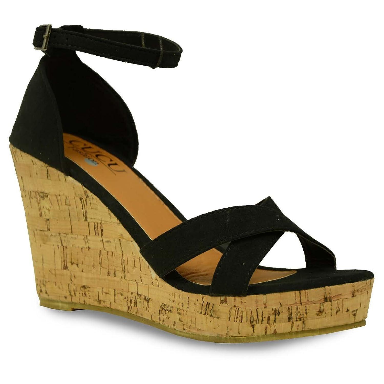 125c15871767 CucuFashion New Womens High Heel Wedges Ladies Platform Ankle Strap Sandals  Shoes Size UK 3 4