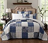 DaDa Bedding Bohemian Denim Blue Elegance Patchwork Cotton Quilted Coverlet Bedspread Set - Bright Vibrant Multi Colorful Navy White Floral Print - 3-Pieces