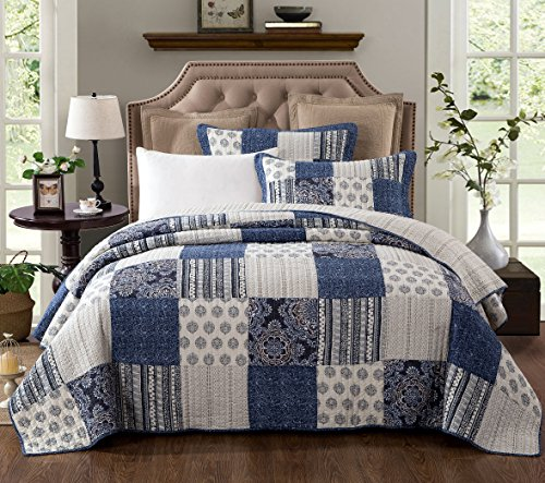 DaDa Bedding Patchwork Bedspread Set – Denim Blue Elegance Cotton Quilted – Bright Vibrant Multi Colorful Navy Floral – Queen – 3-Pieces