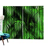 Green Leaves Printed Blackout Curtains for Living Room Bedroom Window Curtains Multicolor