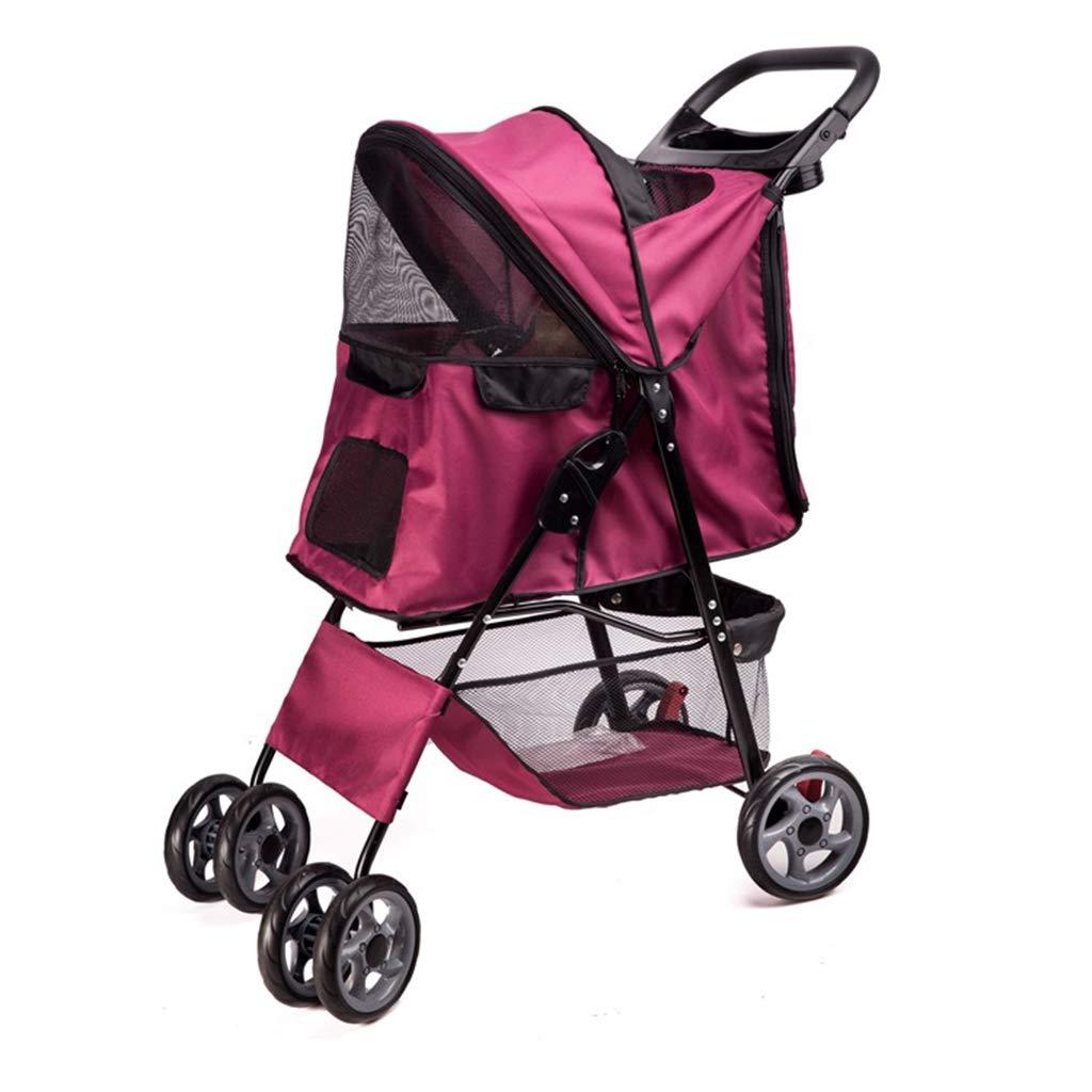 Red Premium Dog Or Cat Luxury Pet Stroller Weather Cover Zipperless Entry Outdoor Walker Pet Equipmen,37  96  63cm,Red