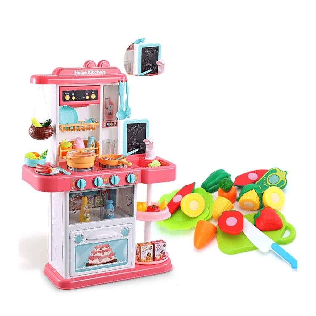 調理器具食器 プラスチック製のキッチン用プレイセット パズル子供用台所用品玩具/教育補助器具 本物の蛇口 スチーム/絵筆付き 35個のアクセサリー ギフト (Color : Pink, Size : 48*20*74cm) 48*20*74cm Pink B07NZ6CCJB