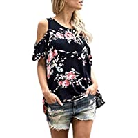 Gobought Womens Floral Cold Shoulder Tunic Tops Short Sleeve Casual T-Shirt Blouse