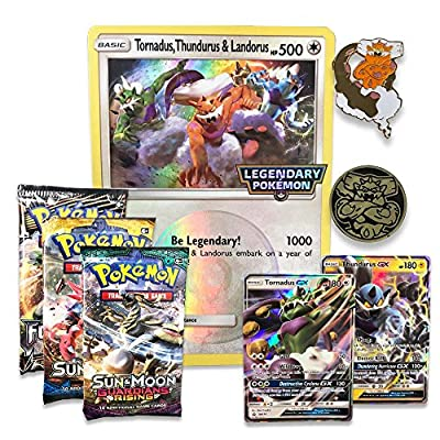 Pokemon TCG: Forces of Nature GX Premium Collection | Collectible Trading Card Set | Features 2 Ultra Rare Foil Promos of Tornadus-GX and Thundurus-GX, 6 Booster Packs, Collectors Pin, Coin & More: Toys & Games
