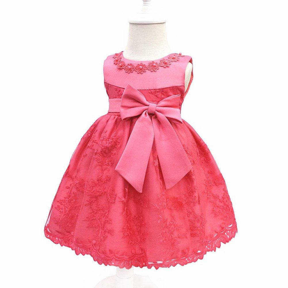 LZH Baby Girls Birthday Christening Dress Baptism Wedding Party Flower Dress with Bowknot for Newborn Infant