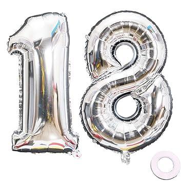 Jurxy Balloon Number 18 Silver Birthday Foil Balloon Helium ...