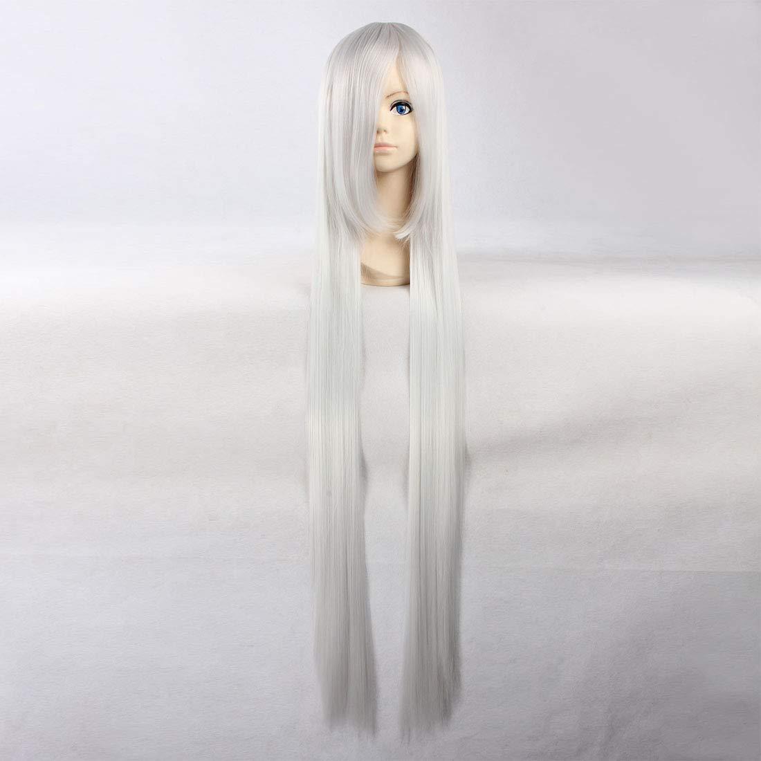 HOOLAZA Peluca recta extralarga de color blanco y plateado ...