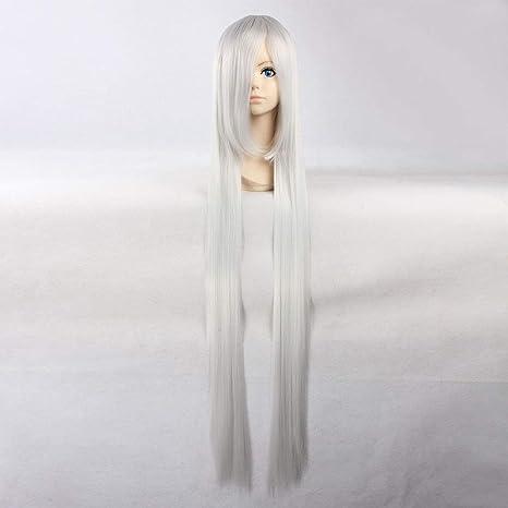 HOOLAZA Perruque droite extra-longue blanche