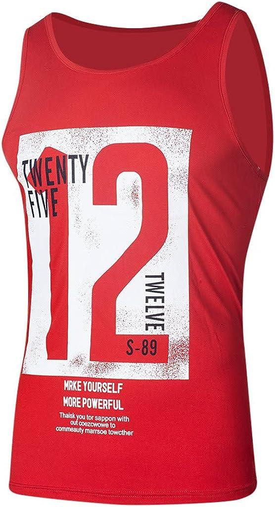 ZEFOTIM Fashion Mens Casual Slim Letter Printed Sleeveless Tank TOP T Shirt Top Blouse