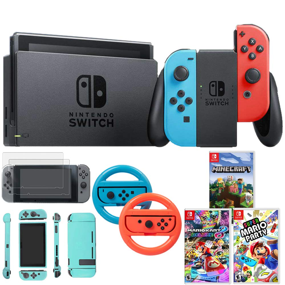 Nintendo Switch 32 GB Console w/Neon Blue & Red Joy-Con (HACSKABAA) w/Super Mario Party + Kart 8 Deluxe + Minecraft + Steering Wheel Switch + 2-Pack Screen Protector + Switch Sky Skin