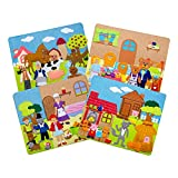 Sprogs Set of 4 Felt Storyboards w/Storage Bag, 3 Little Pigs, Gingerbread Man, Goldilocks, Red Riding Hood, SPG-ENA1021-SO