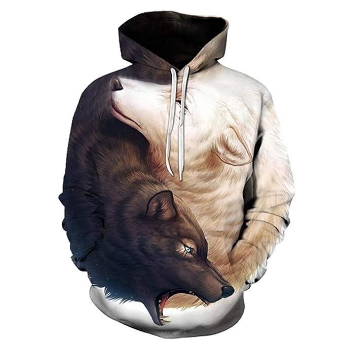Yin and Yang Wolf por Animal Print Sudadera con Capucha para Hombre Sudadera con Capucha 3D Hombres Sudadera con Capucha Capa Negra Jersey: Amazon.es: Ropa ...